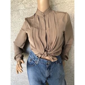 VINTAGE Pleated front blouse with stand up collar